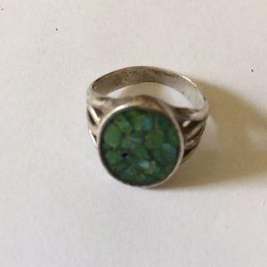 Vintage sterling inlay green turquoise ring